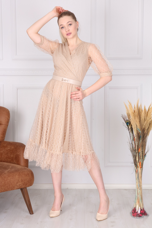 Bej Kruvaze Fransız Elbise