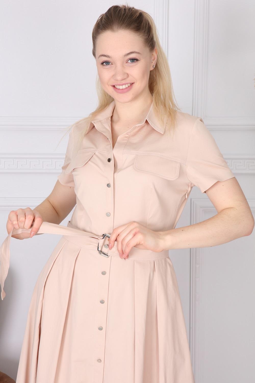 Bej Basic Yakalı Elbise