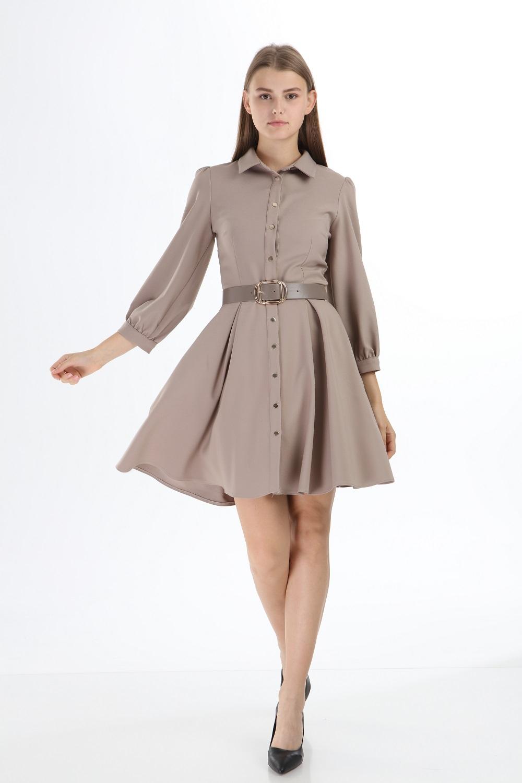 Bej Yakalı Düğmeli Kısa Elbise