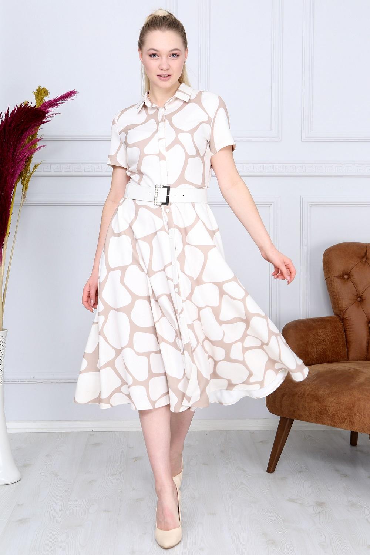 Beyaz Desenli Fransız Elbise
