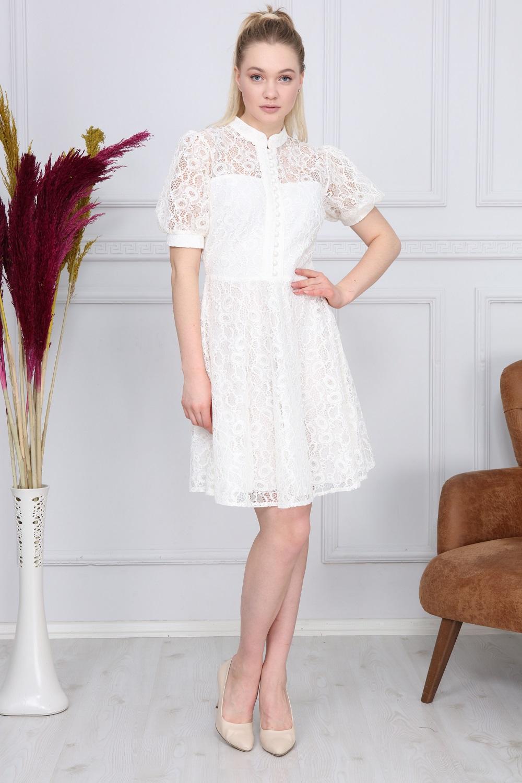 Beyaz Renk Dantelli Elbise