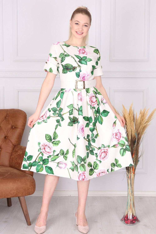 Beyaz Çiçek Desenli Elbise