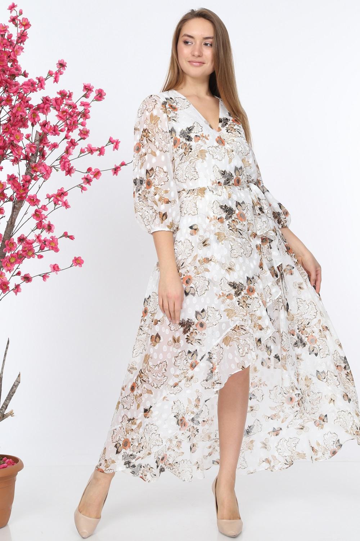 Beyaz Desenli Volanlı Elbise
