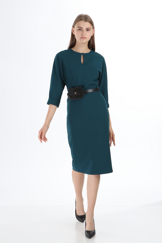 Petrol Renk Çantalı Kemerlİ Elbise