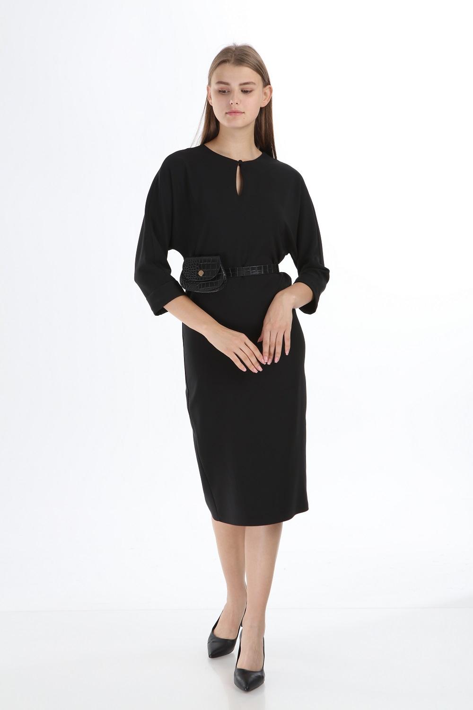 Siyah Renk Çantalı Kemerli Elbise