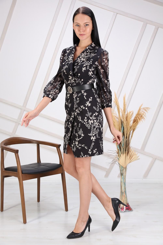 Siyah Çiçek Desenli Kolu Tül Elbise