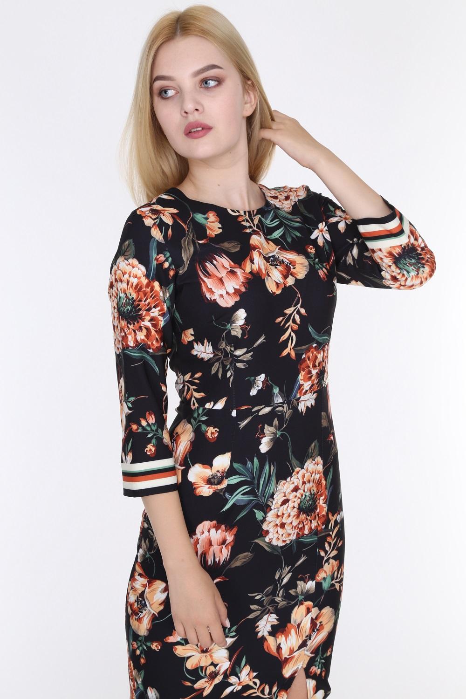Çiçek Desenli Yırtmaçlı Siyah Renk Elbise