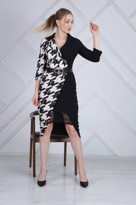 Dantelli Kazayağı Desen Elbise