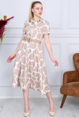Bej Desenli Fransız Elbise