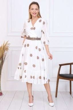 Bej Puantiyeli Fransız Elbise