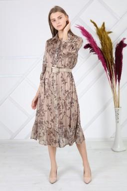 Bej Desenli Simli Elbise