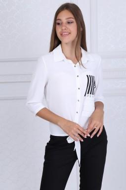 Yakalı Düğmeli Beyaz Bluz