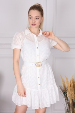 Beyaz Kısa Kol Elbise