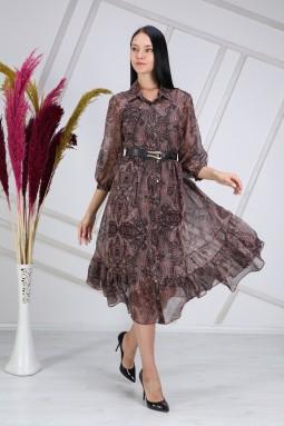 Şal Desen Bordo Elbise