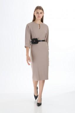Vizon Renk Çantalı Kemerli Elbise
