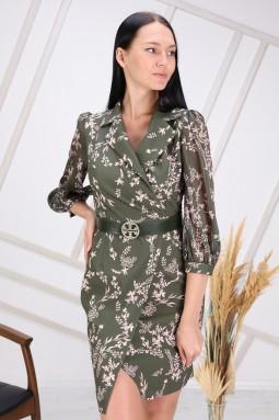Yeşil Çiçek Desenli Kolu Tül Elbise