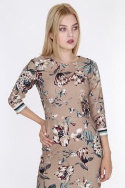 Çiçek Desenli Yırtmaçlı Bej  Renk Elbise