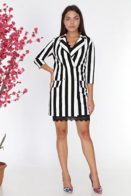 Dantelli Siyah Beyaz Çizgili Ceket Elbise
