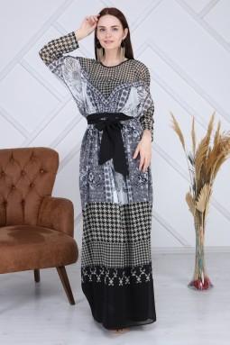 Çok Desenli Haki Uzun Elbise