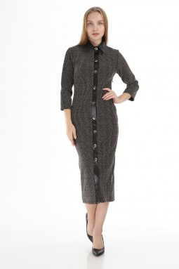 Bej Deri Yakalı Düğmeli Elbise