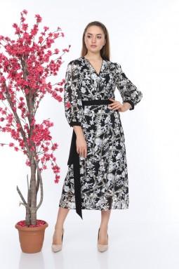 Gri Desenli Kuşaklı Elbise