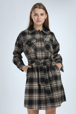Ekoseli Düğmeli Bej Elbise