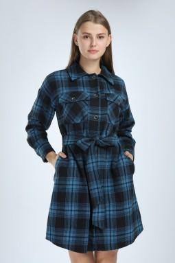 Ekoseli Düğmeli Mavi Elbise