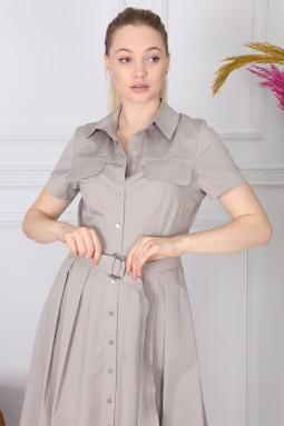 Gri Basic Yakalı Elbise