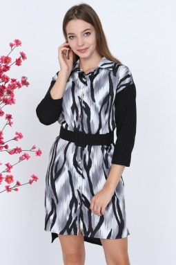 Zebra Desen Gri Elbise