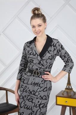 Gri Yazı Desenli Elbise