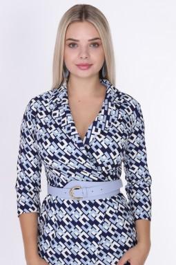 Desenli Yakalı Mavi Renk Elbise
