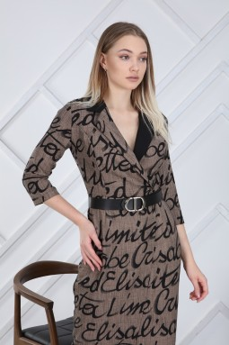 Kahverengi Yazı Desenli Elbise