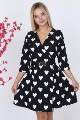 Kalp Desen Siyah Renk Elbise