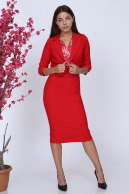 Dantelli Ceketli Kırmızı Renk Takım