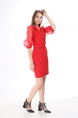 Kırmızı Kolu Tül Elbise