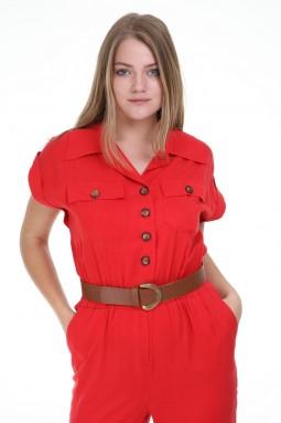 Kısa Kollu Düğmeli Kırmızı Renk Tulum