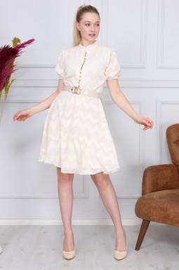 Krem Zikzak Desen Elbise
