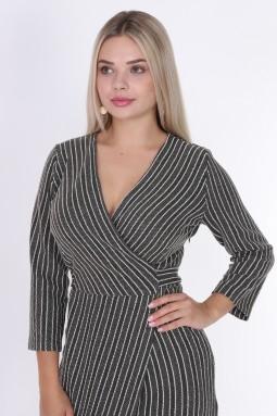 Kruvaze Çizgili Haki Renk Elbise