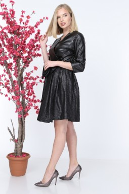 Kruvaze Siyah Deri Elbise