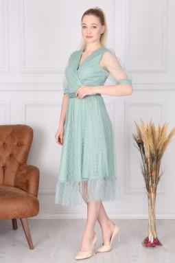 Mint Kruvaze Fransız Elbise