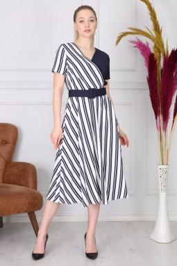 Lacivert Çizgili Uzun Elbise
