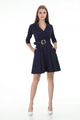 Lacivert Kısa Pileli Elbise