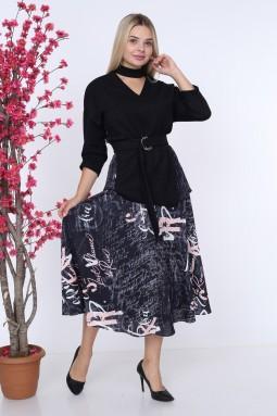 Yazı Detaylı Lacivert Elbise