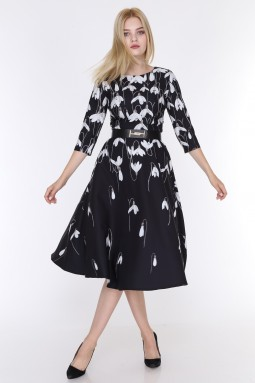 Lale Desenli Siyah Renk Elbise