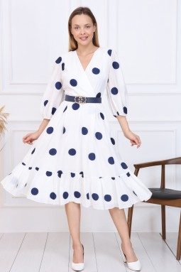 Lacivert Puantiyeli Fransız Elbise