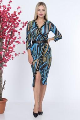 Mavi Ribanalı Desenli Elbise