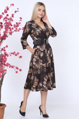 Çiçek Desen Vizon Elbise