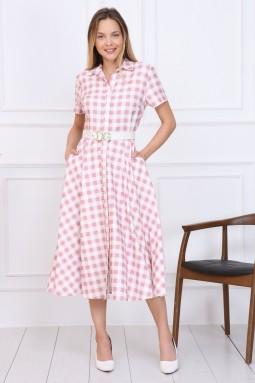 Pembe Ekose Düğmeli Elbise