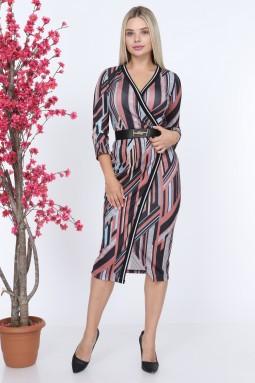 Pudra Ribanalı Desenli Elbise