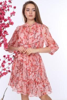 Pembe Kuşaklı Desenli Elbise
